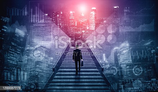 994786356 istock photo Ambitious business man climbing stairs to success. 1200037273