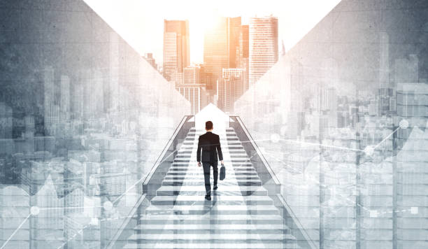 Ambitious business man climbing stairs to success. Ambitious business man climbing stairs to meet incoming challenge and business opportunity. The high stair represents the concept of career path success, future planning and business competitions. mission church stock pictures, royalty-free photos & images