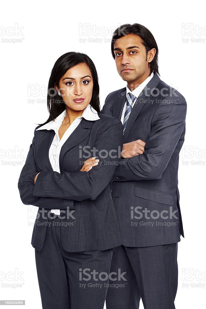 Ambitious businesspeople standing on white royalty-free stock photo