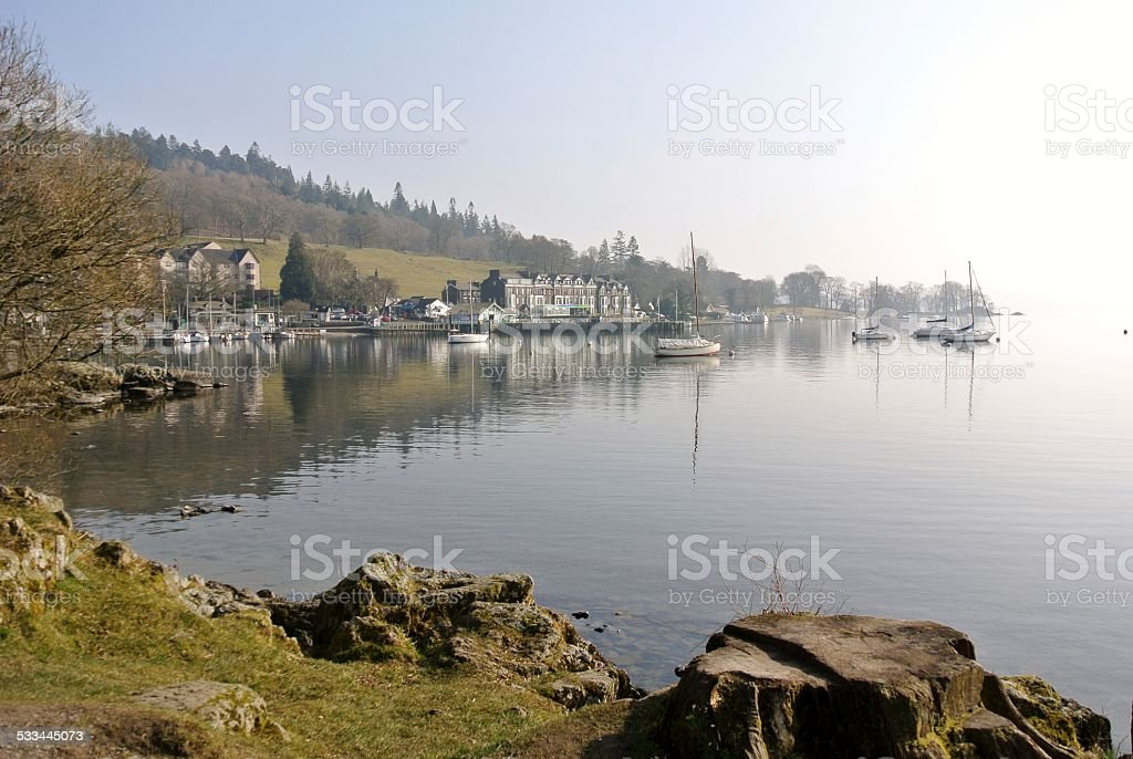 Ambleside and Lake Windermere on a Sunny Spring Morning stock photo