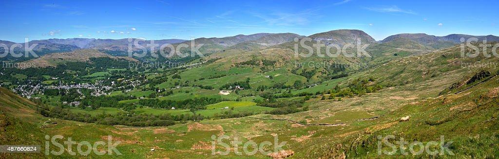 Ambleside from Wansfell stock photo