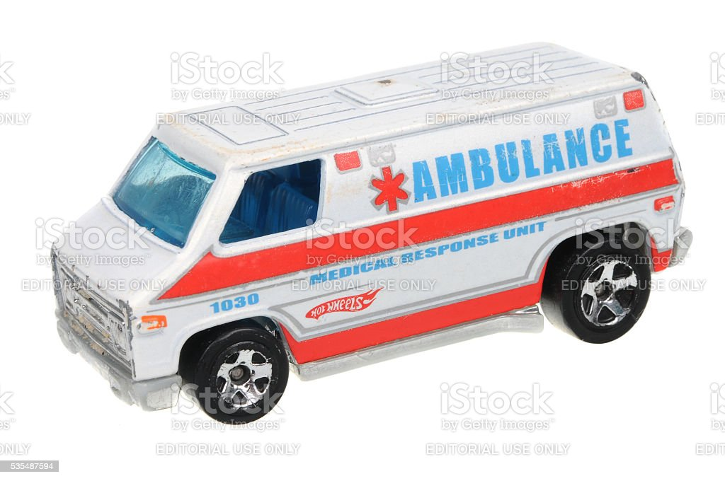 2003 Ambulance 70's van Hot Wheels Diecast Toy Car stock photo