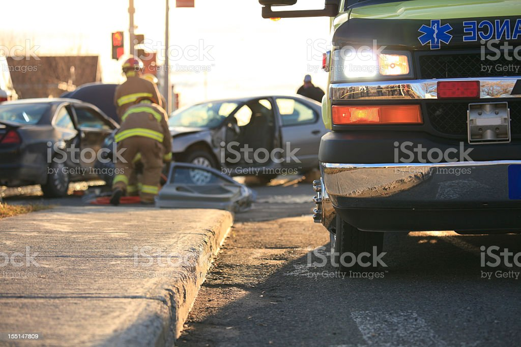 Ambulance Accident Scene stock photo