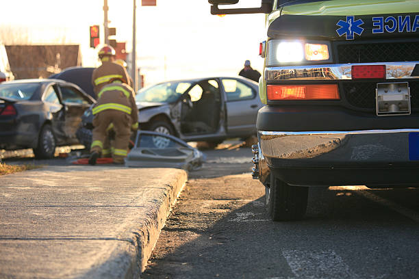ambulance accident scene - car accident stock photos and pictures