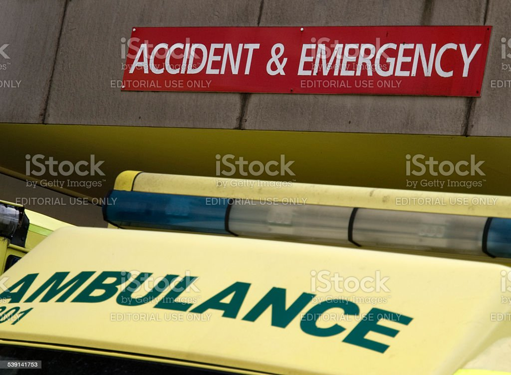 Ambulance and A&E signs together at a hospital stock photo