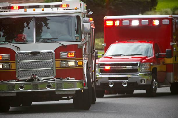 Ambulance and Firetruck stock photo