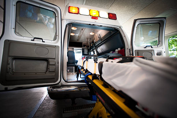 ambulance and gurney - ambulance stock photos and pictures