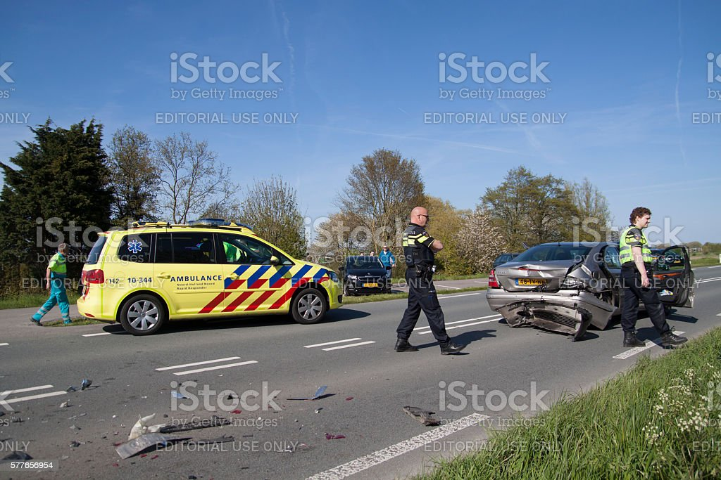 Ambulance and police attended an accident stock photo