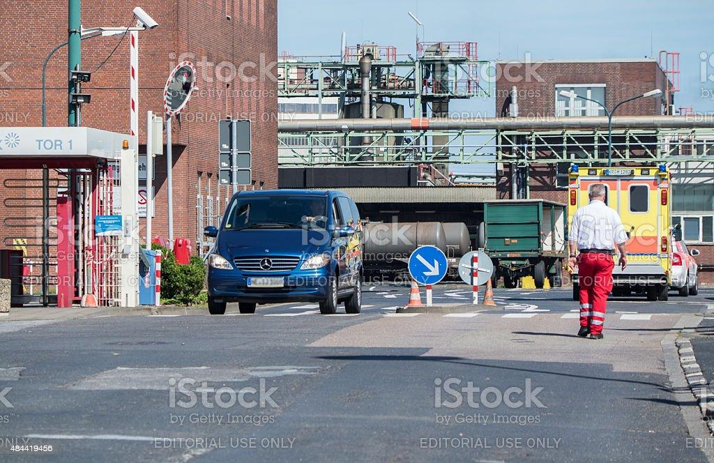 Ambulance arriving short after the explosion at Chempark Uerdingen stock photo