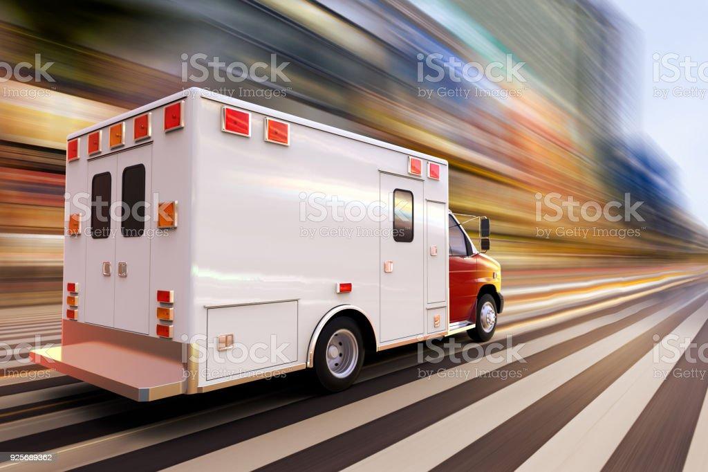 ambulancia a alta velocidad - foto de stock