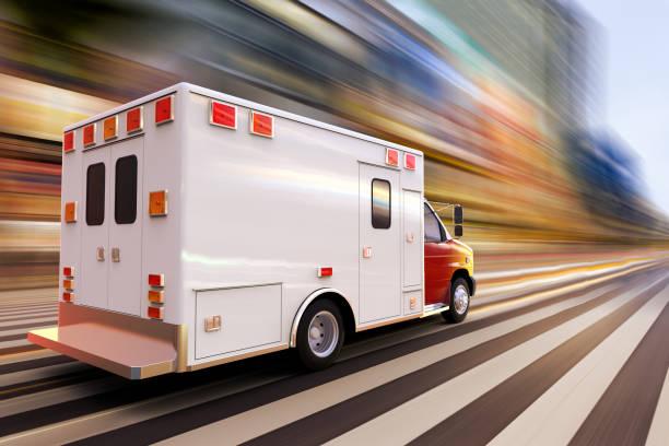 ambulance at high speed stock photo