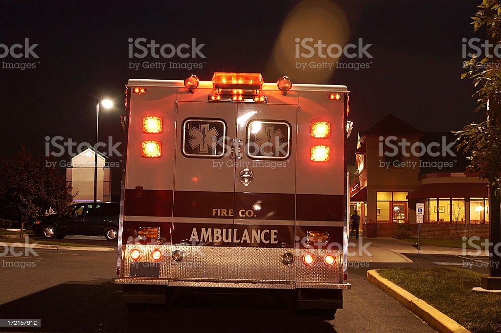 ambulance at night stock photo