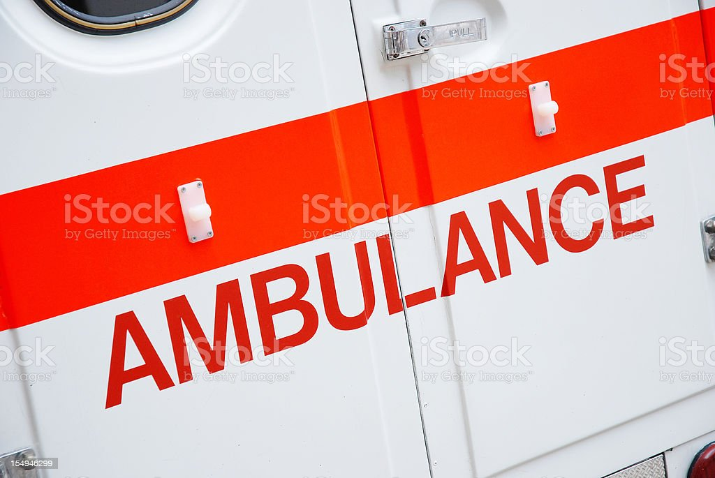 Ambulance back door stock photo