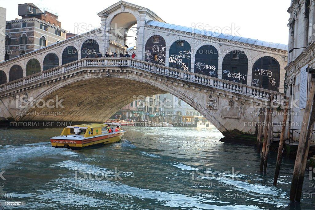 Ambulance boat at Rialto bridge, Venice, Italy royalty-free stock photo