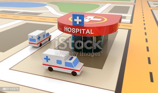 istock Ambulance car, hospital, heliport 962112272