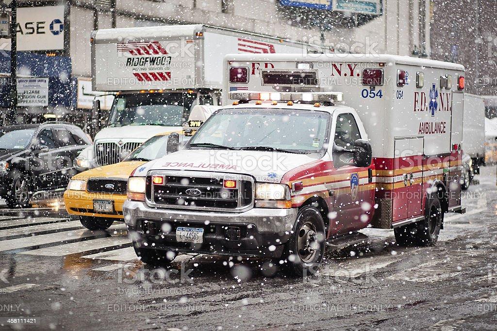 Ambulance car in blizzard, New York stock photo