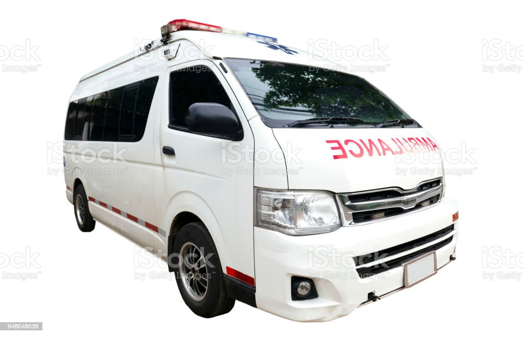 Ambulance car isolated on white background of file with Clipping Path stock photo