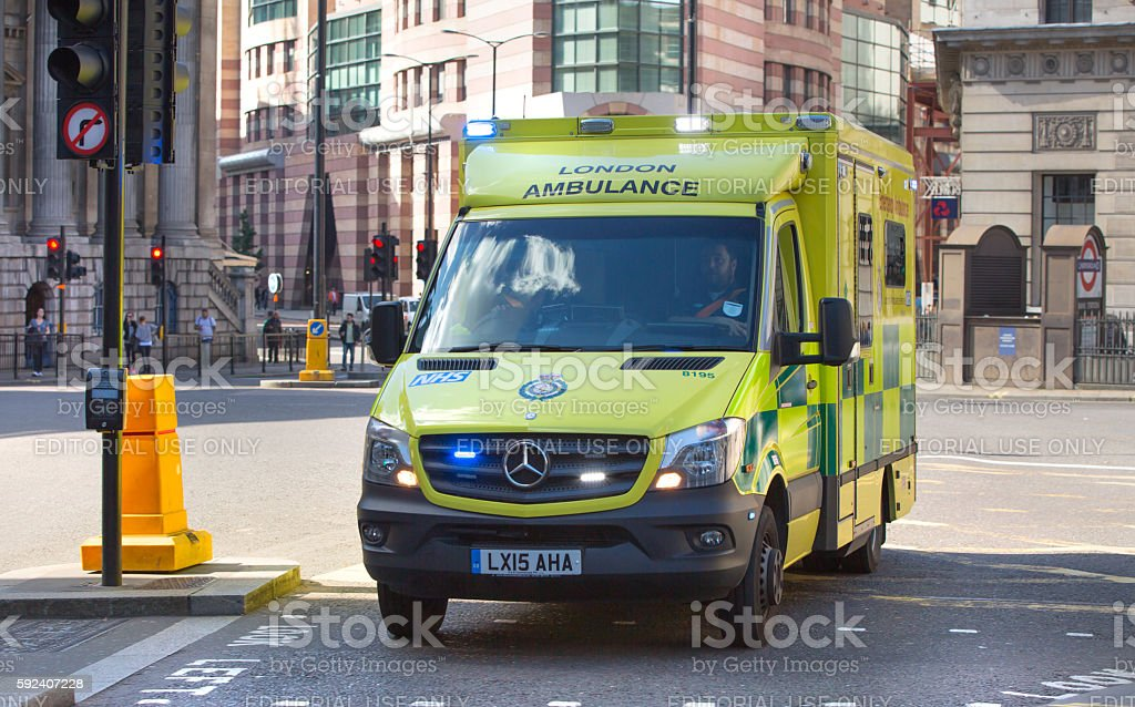 Ambulance car on the Bank street stock photo