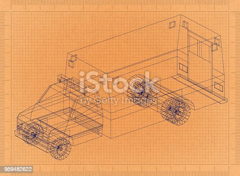 istock Ambulance car - Retro Blueprint 959482622