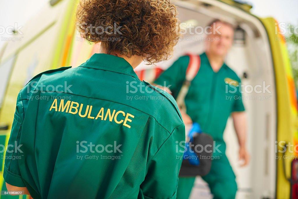 ambulance crew at the scene stock photo