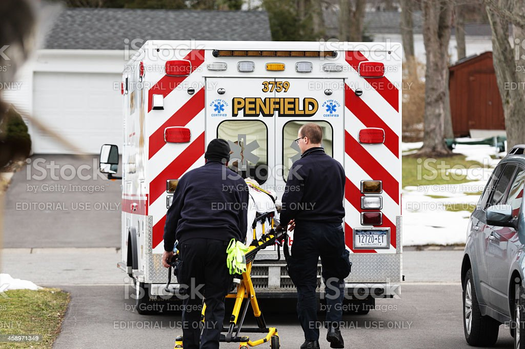 Ambulance Crew Moving Emergency Patient stock photo