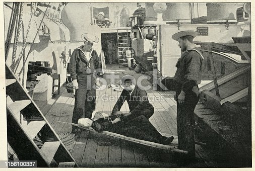 Vintage photograph of Ambulance drill on board HMS Tartar, Royal navy crusier, 19th Century