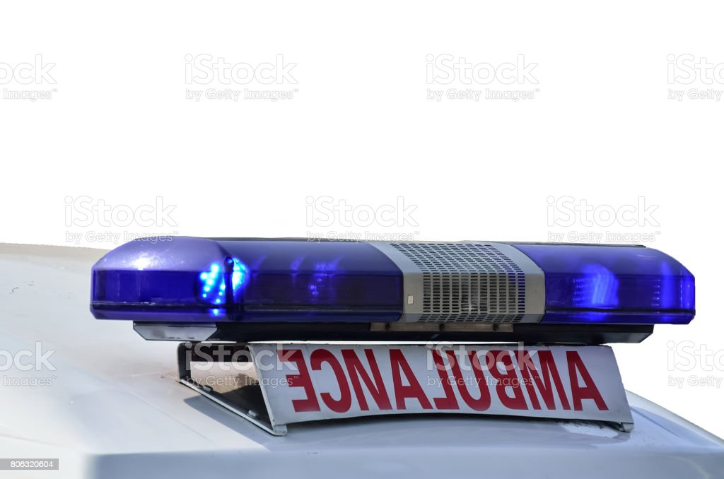 Ambulance emergency light stock photo