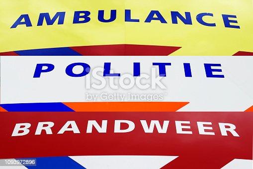 istock Ambulance Fire and Police department (Ambulance, brandweer en politie) 1/2 1093972896
