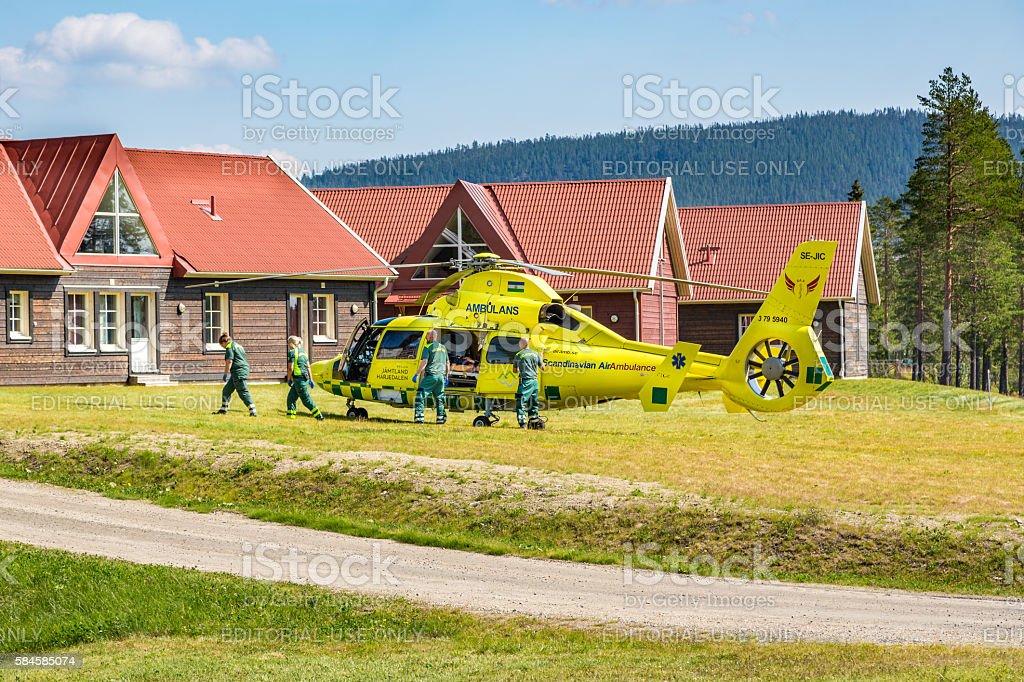 Ambulance helicopter and paramedics. royalty-free stock photo