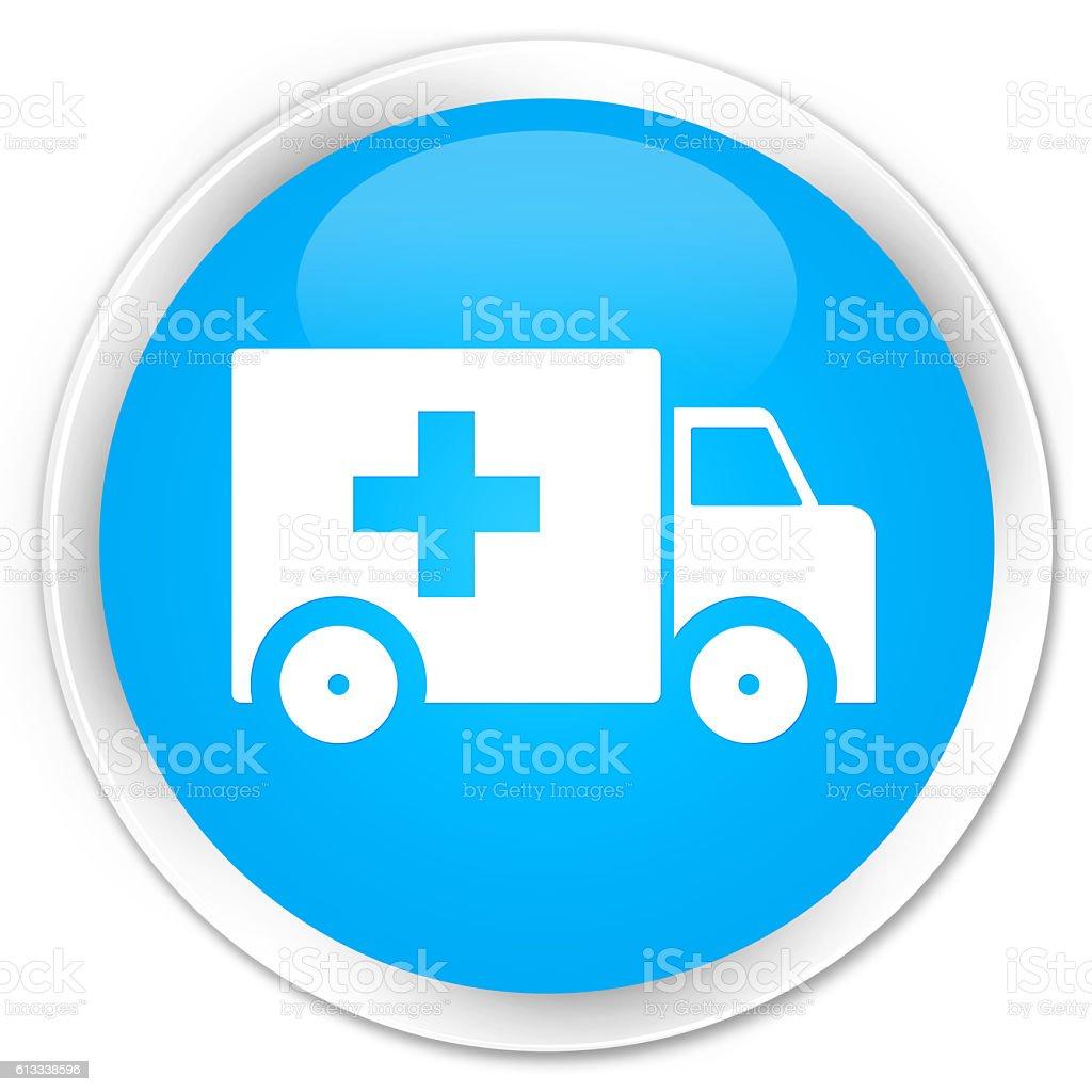Ambulance icon cyan blue glossy round button stock photo