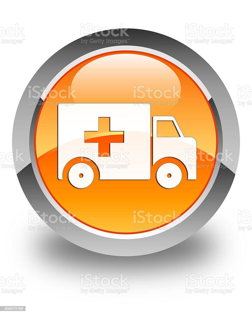 Ambulance icon glossy orange round button stock photo