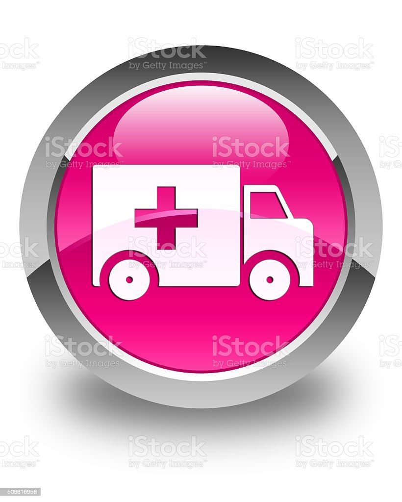 Ambulance icon glossy pink round button stock photo