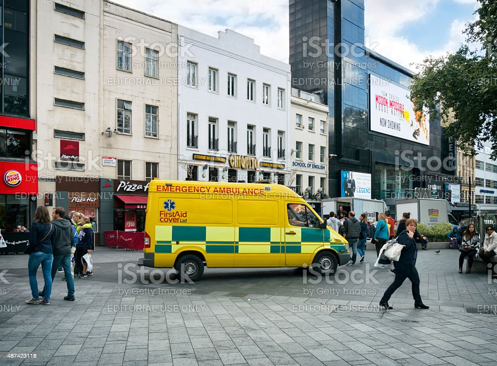 Ambulance in Leicester Square stock photo