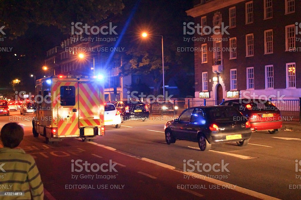 Ambulance in London stock photo
