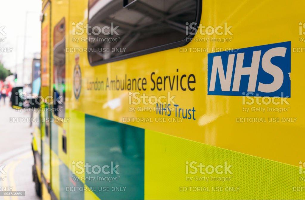 NHS Ambulance in London stock photo