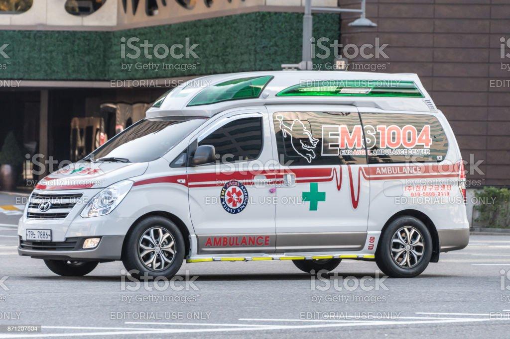 Ambulance in Seoul, South Korea stock photo
