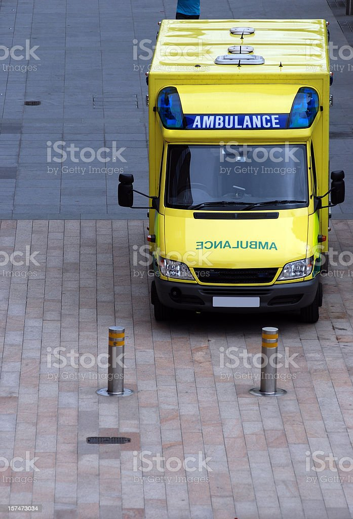Ambulance in the street stock photo