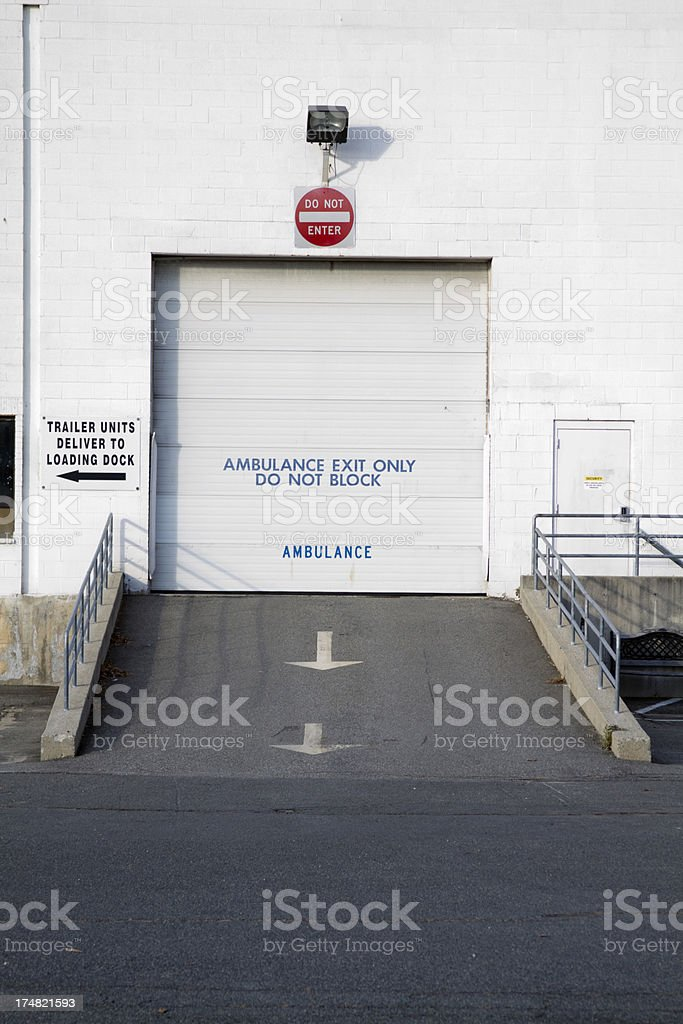 Ambulance loading dock -vertical royalty-free stock photo