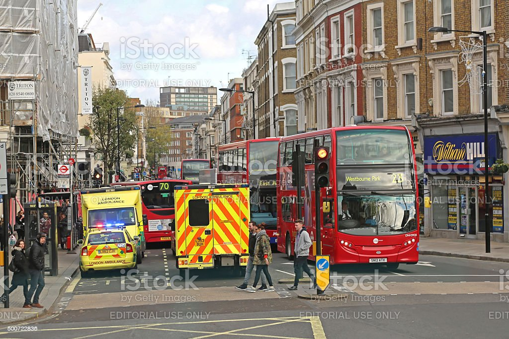 Ambulance London stock photo