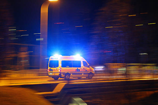 ambulance motion blur - emergency response stock pictures, royalty-free photos & images