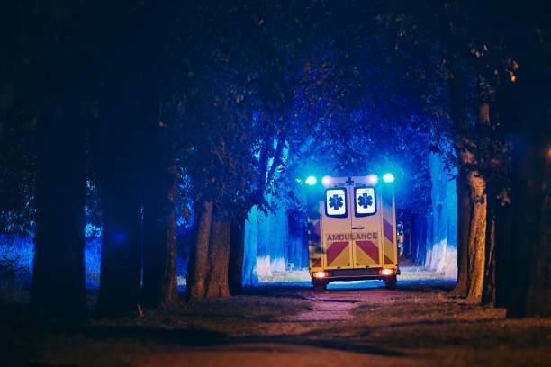 Ambulance of emergency medical service stock photo