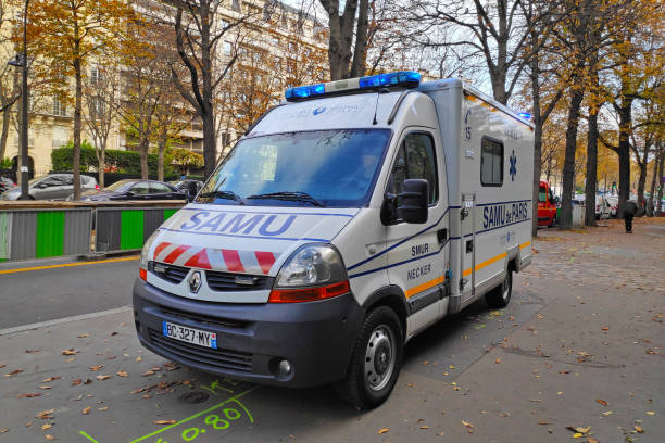 Ambulance of the Samu de Paris stock photo