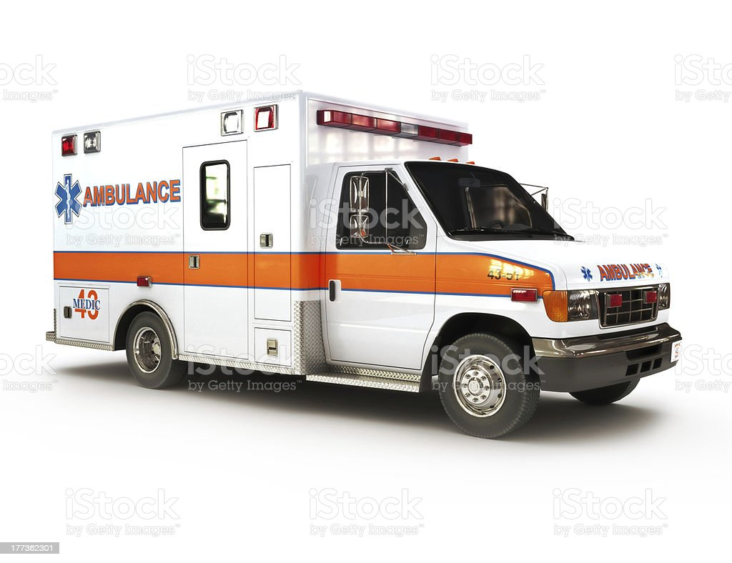 Ambulance on a white background stock photo