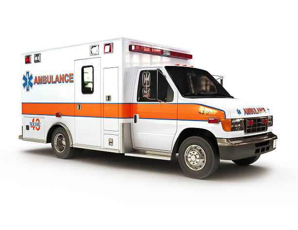 ambulance on a white background - ambulance stock photos and pictures