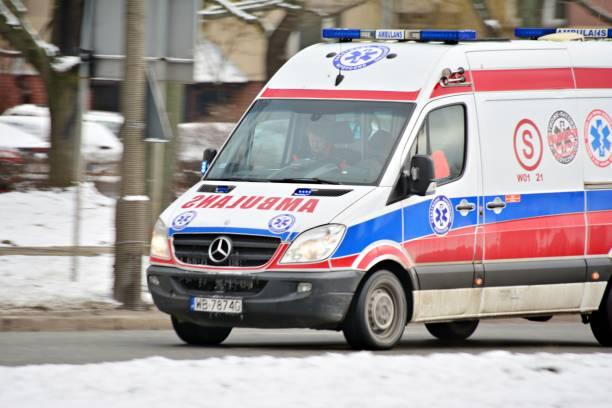 Ambulance on Kasprzaka street stock photo