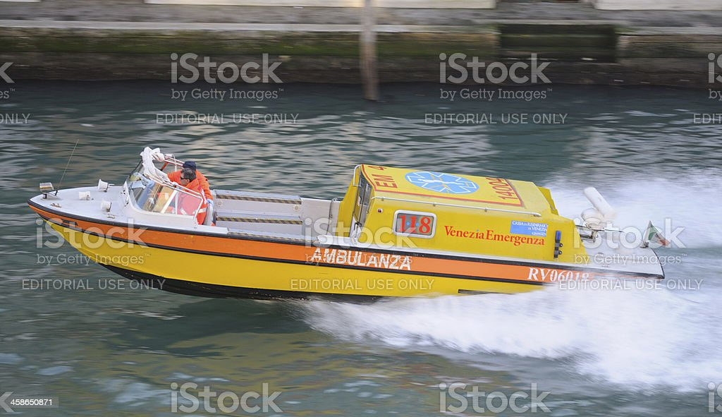 Ambulance on the Grand Canal royalty-free stock photo
