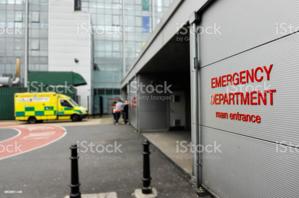 Ambulance outside a hospital Accident and Emergency department. stock photo