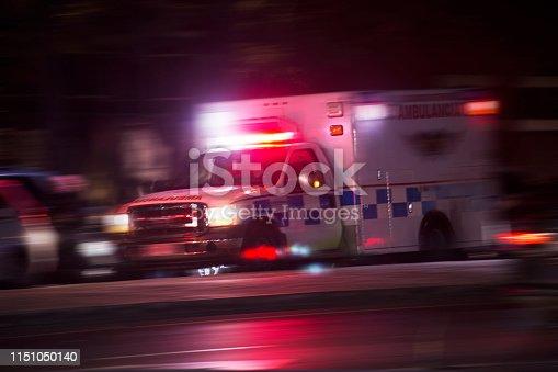 An ambulance responds to an emergency call.