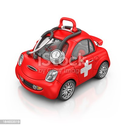 isolated red city car and black stethoscope.3d render.This is in 100% my own project.Property Release is not required.