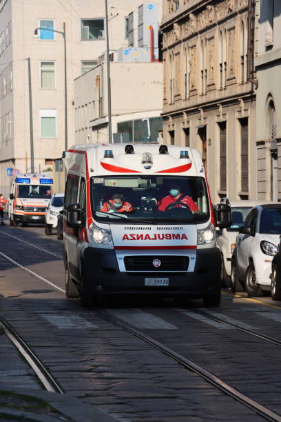 ambulance ready for covid 19 emergency in milan - milan railway foto e immagini stock